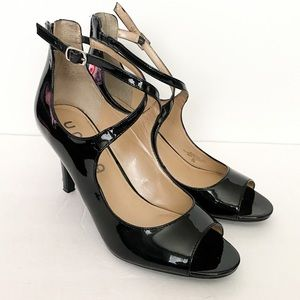 Unisa black patent open toe cross ankle heel